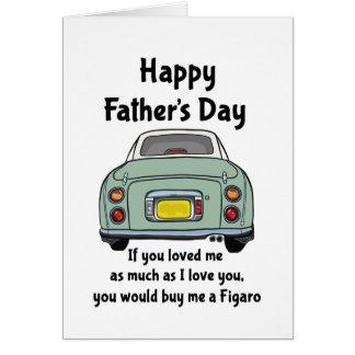 Tarjeta feliz del día de padre del coche verde de