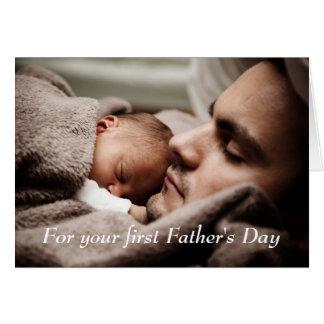 Tarjeta feliz del día de padre del nuevo papá