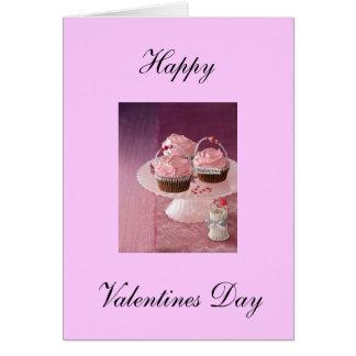 Tarjeta feliz del día de San Valentín. Cupcakes.