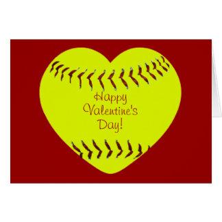 Tarjeta feliz del día de San Valentín del softball