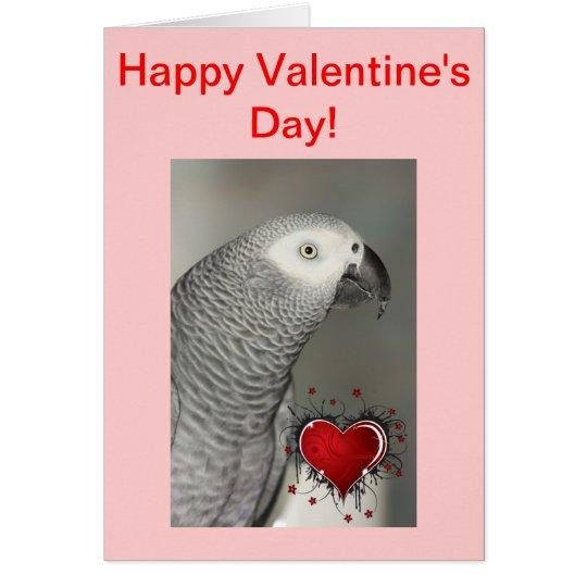Tarjeta feliz del el día de San Valentín del loro