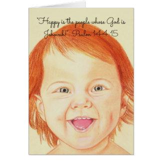 Tarjeta ¡Feliz es la gente cuyo dios es Jehová! ~Scripture