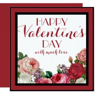 Tarjeta feliz floral color de rosa bonita del día invitación 13,3 cm x 13,3cm