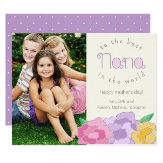 Tarjeta feliz floral preciosa de Nana del día de Invitación 10,8 X 13,9 Cm