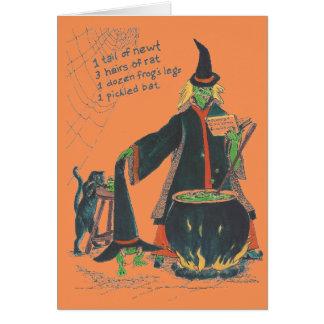 Tarjeta Feliz Halloween del Brew de las brujas con el gato