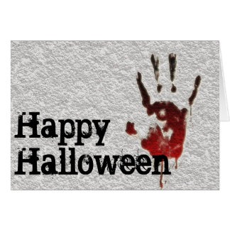 Tarjeta Feliz Halloween Handprint sangriento
