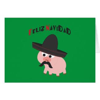 Tarjeta ¡Feliz Navidad! Cerdo