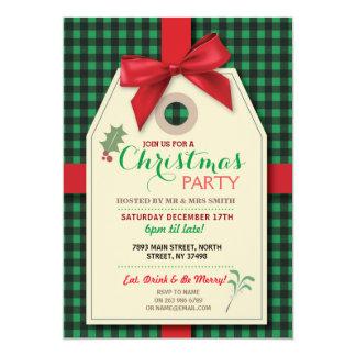Tarjeta Feliz Navidad de la etiqueta del arco de la