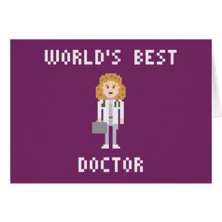 Tarjeta femenina del doctor felicitación del arte