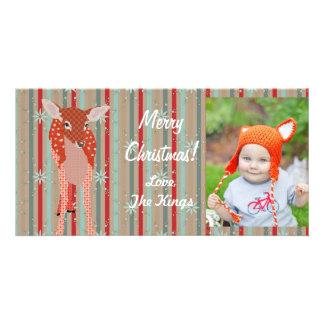 Tarjeta festiva de la foto de las rayas del navida tarjeta fotográfica