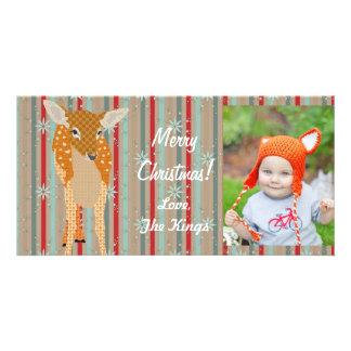 Tarjeta festiva de la foto de las rayas del navida plantilla para tarjeta de foto