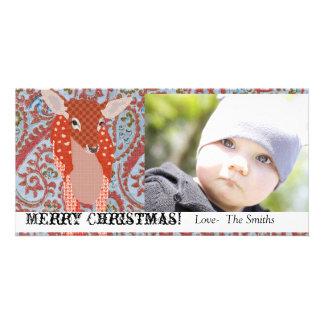 Tarjeta festiva de la foto del navidad del cervati tarjeta fotografica