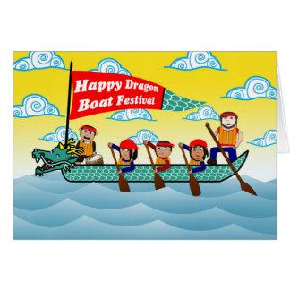 Tarjeta Festival de barco de dragón chino, barco y equipo