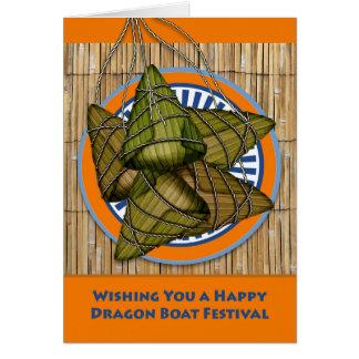 Tarjeta Festival de barco de dragón chino, bola de masa