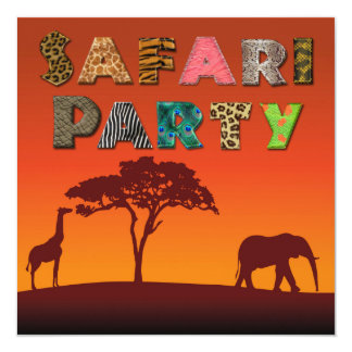 Tarjeta Fiesta africano de la silueta del safari -