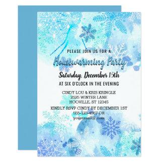 Tarjeta Fiesta azul del estreno de una casa del invierno