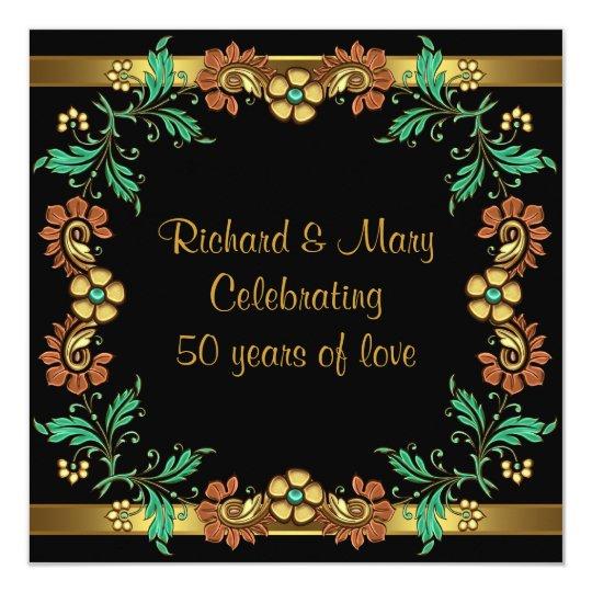 Tarjeta Fiesta de aniversario del boda de las flores 50.as
