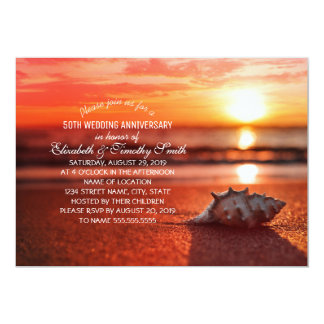 Tarjeta Fiesta de aniversario del boda de playa de la