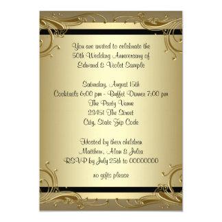 Tarjeta Fiesta de aniversario elegante del boda del oro