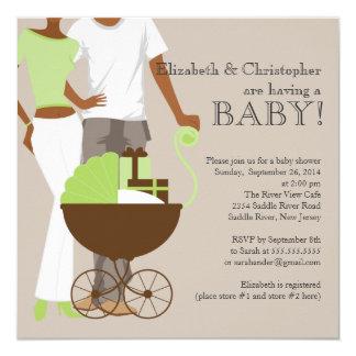 Tarjeta Fiesta de bienvenida al bebé afroamericana del