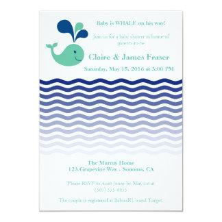 Tarjeta Fiesta de bienvenida al bebé azul y verde de la