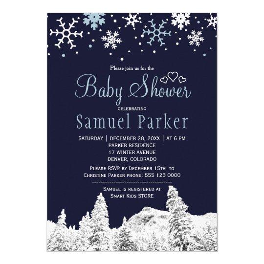 Tarjeta Fiesta de bienvenida al bebé blanca del invierno
