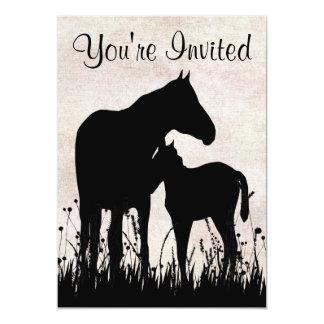 Tarjeta Fiesta de bienvenida al bebé bonita del caballo de