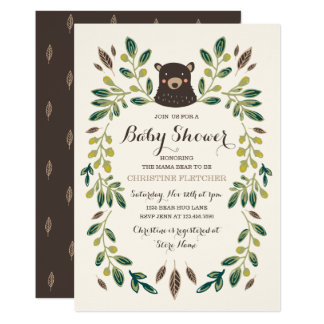 Tarjeta Fiesta de bienvenida al bebé de Cub de oso