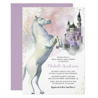 Tarjeta Fiesta de bienvenida al bebé de princesa Unicorn
