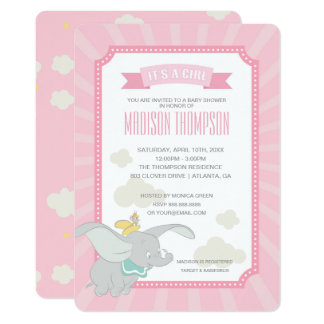Tarjeta Fiesta de bienvenida al bebé del chica de Dumbo el