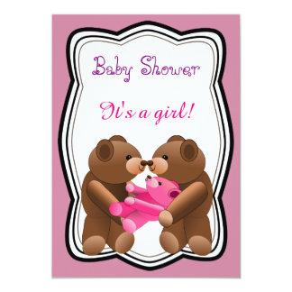 Tarjeta Fiesta de bienvenida al bebé del chica del oso de