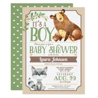 Tarjeta Fiesta de bienvenida al bebé del muchacho del oso