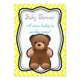Tarjeta Fiesta de bienvenida al bebé del neutral del oso