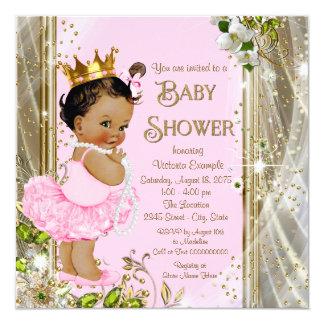 Tarjeta Fiesta de bienvenida al bebé étnica de princesa