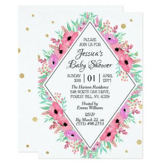 Tarjeta Fiesta de bienvenida al bebé floral de la acuarela