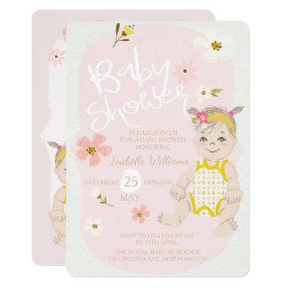 Tarjeta Fiesta de bienvenida al bebé floral del rosa de la