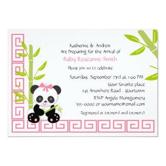 Tarjeta Fiesta de bienvenida al bebé linda de la panda del