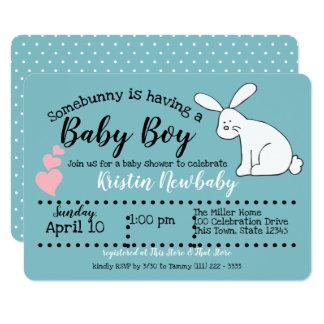 Tarjeta Fiesta de bienvenida al bebé linda del conejito