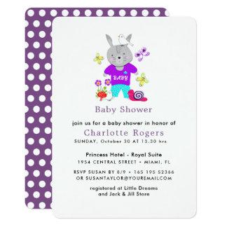 Tarjeta Fiesta de bienvenida al bebé linda del conejo de
