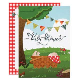 Tarjeta Fiesta de bienvenida al bebé Picnic/BBQ/Woodland
