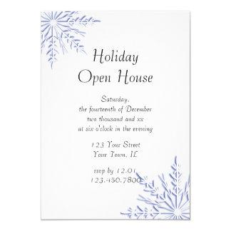 Tarjeta Fiesta de casa abierta azul del día de fiesta del