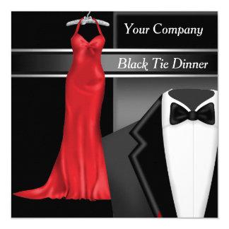 Tarjeta Fiesta de cena corporativo del lazo negro