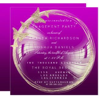 Tarjeta Fiesta de compromiso de oro púrpura del boda de la