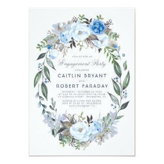 Tarjeta Fiesta de compromiso floral azul polvoriento de la