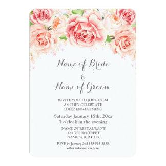 Tarjeta Fiesta de compromiso floral de la acuarela rosada