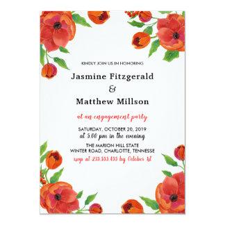 Tarjeta Fiesta de compromiso floral de los Peonies rojos