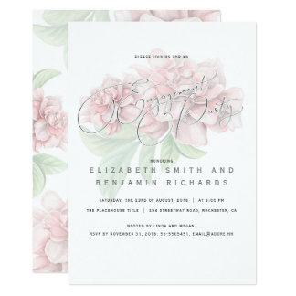 Tarjeta Fiesta de compromiso floral rosado elegante de la