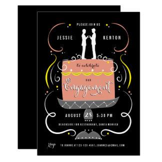 Tarjeta Fiesta de compromiso gay del primero de la torta