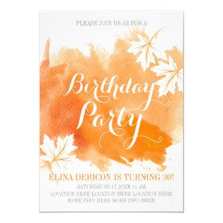 Tarjeta Fiesta de cumpleaños anaranjada de la acuarela