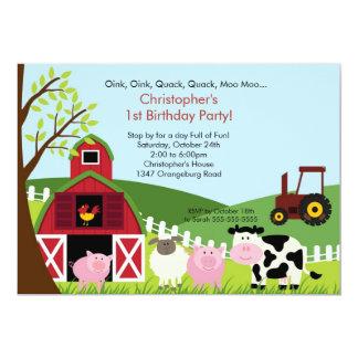 Tarjeta Fiesta de cumpleaños animal de la diversión del